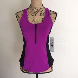NWT Alo Yoga playa racerback tank in purple/blk, M